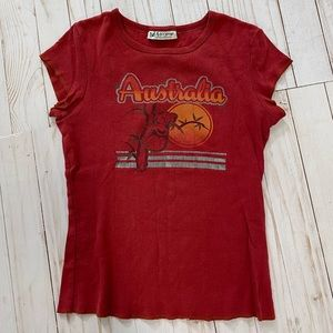 Australia 90s graphic tiny fitted tee red small